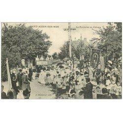 carte postale ancienne 14 SAINT-AUBIN. La Procession au Calvaire