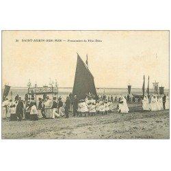 carte postale ancienne 14 SAINT-AUBIN. La Procession de Fête-Dieu