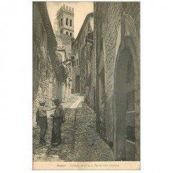 carte postale ancienne Italia Italie. ASSISI. Strada antica e Torre del Popolo