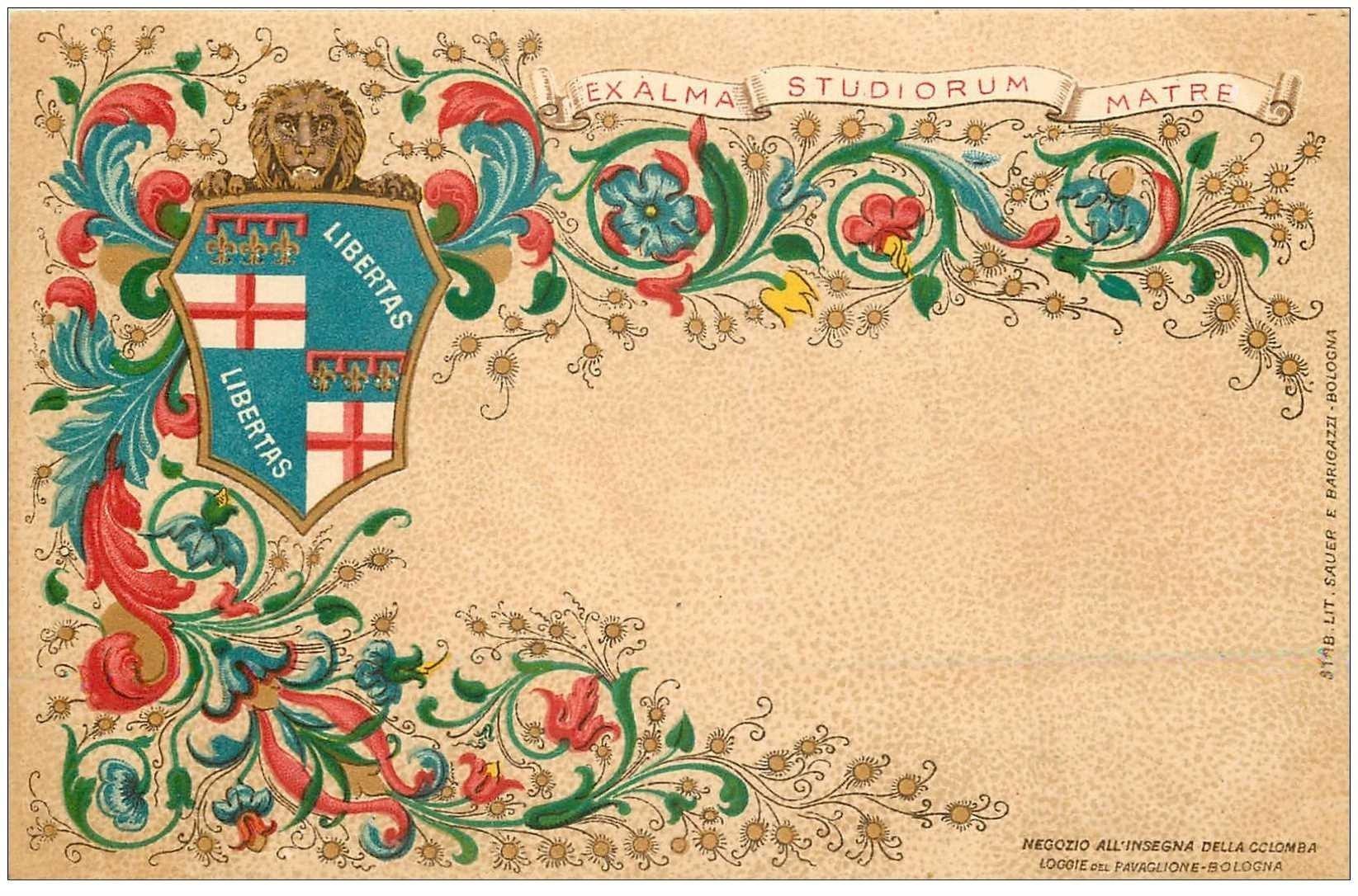 carte postale ancienne Italia Italie. BOLOGNA. Libertas Exama Studiorum Matre
