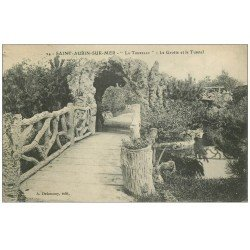carte postale ancienne 14 SAINT-AUBIN. La Tourelle Grotte et Tunnel 1910