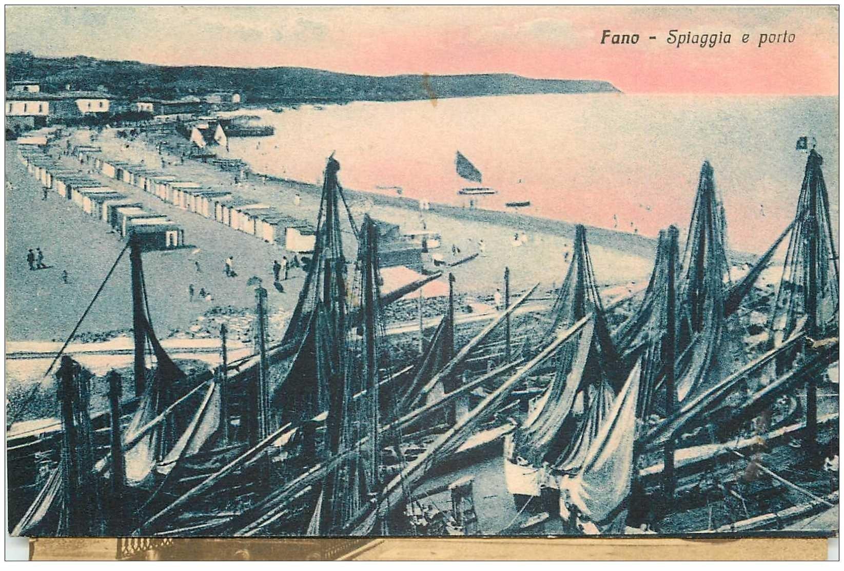 carte postale ancienne Italia Italie. FANO. Spiaggia e Porto