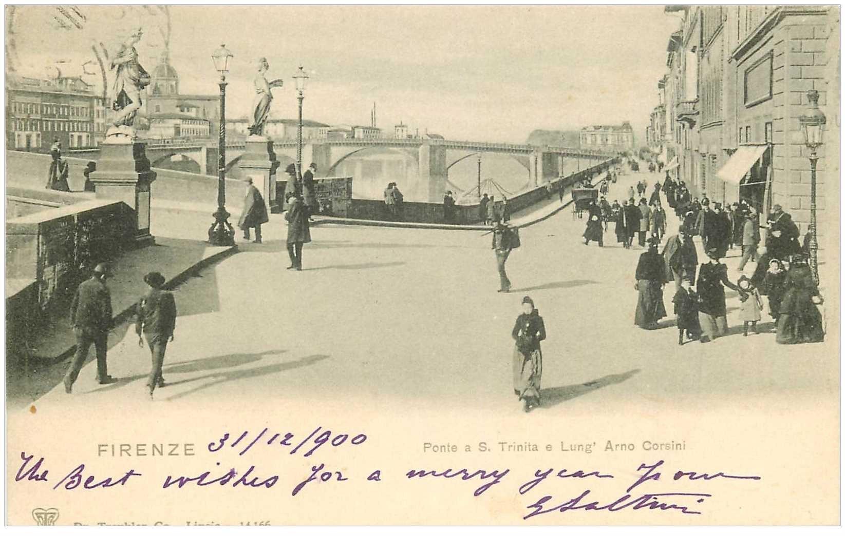 carte postale ancienne Italia Italie. FIRENZE. Ponte S. Trinita e Lung' Arno Corsini