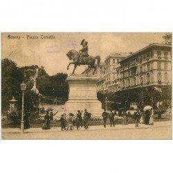 carte postale ancienne Italia Italie. GENOVA. Piazza Corvetto 1910. Timbre manquant