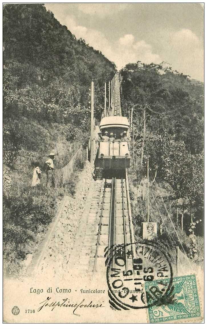 carte postale ancienne Italia Italie. LAGO DI COMO. Funicolare 1915