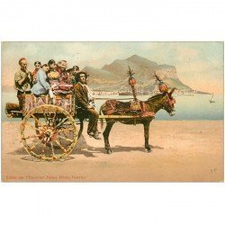 carte postale ancienne Italia Italie. PALERMO. La Charrette 1906