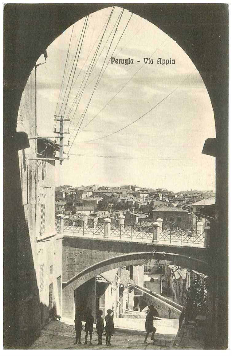 carte postale ancienne Italia Italie. PERUGIA. Via Appia