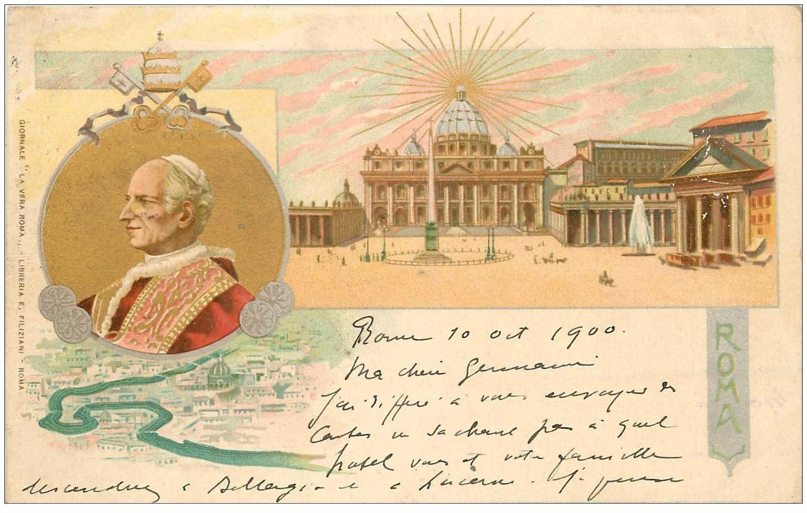 carte postale ancienne Italia Italie. ROMA 1900 timbre manquant