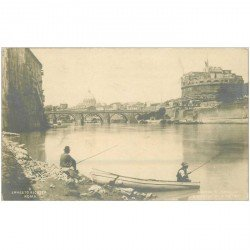 carte postale ancienne Italia Italie. ROMA. Pêcheurs e Castel S. Angelo