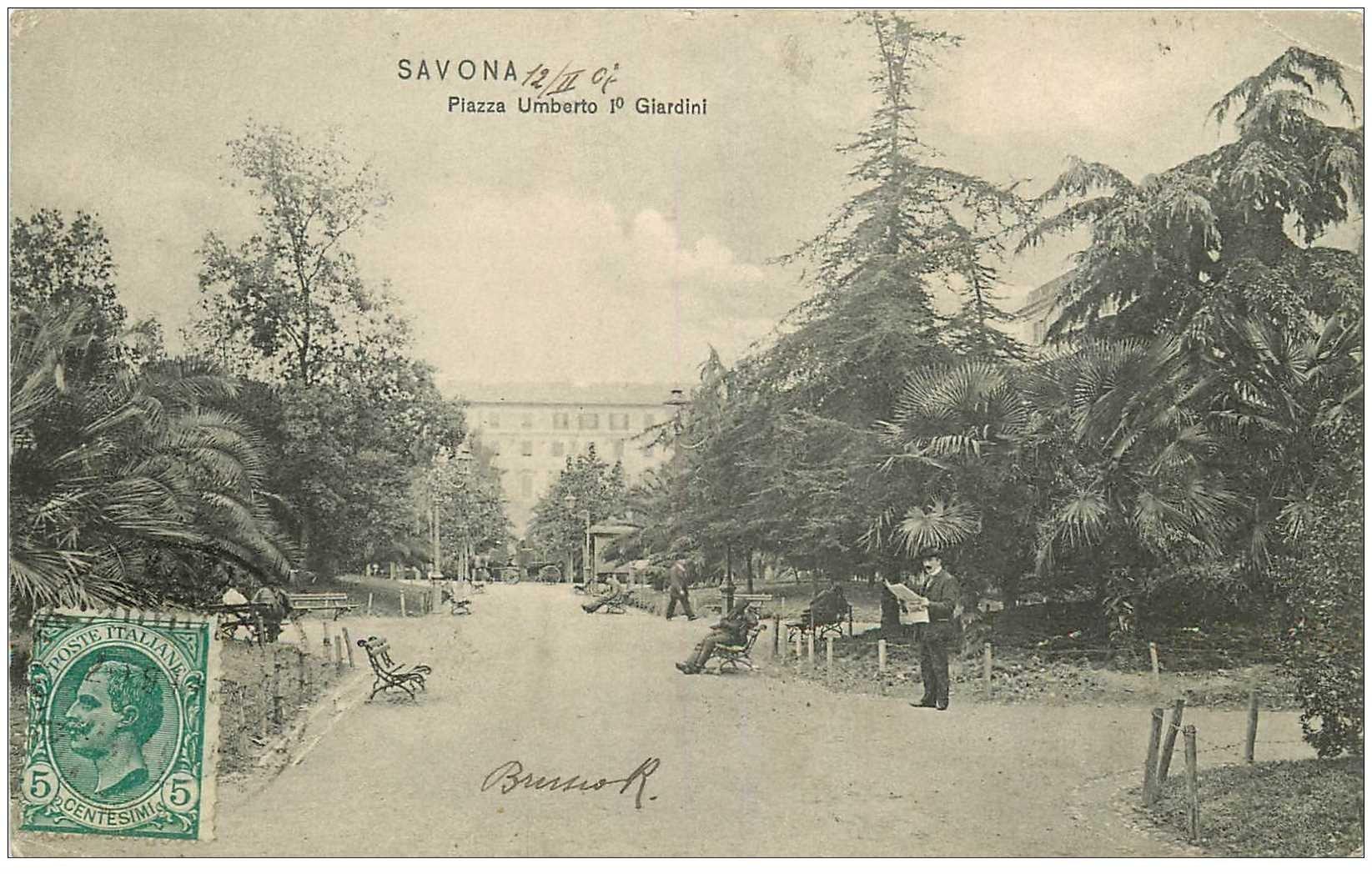 carte postale ancienne Italia Italie. SAVONA. Piazza Umberto I° Giardini 1907