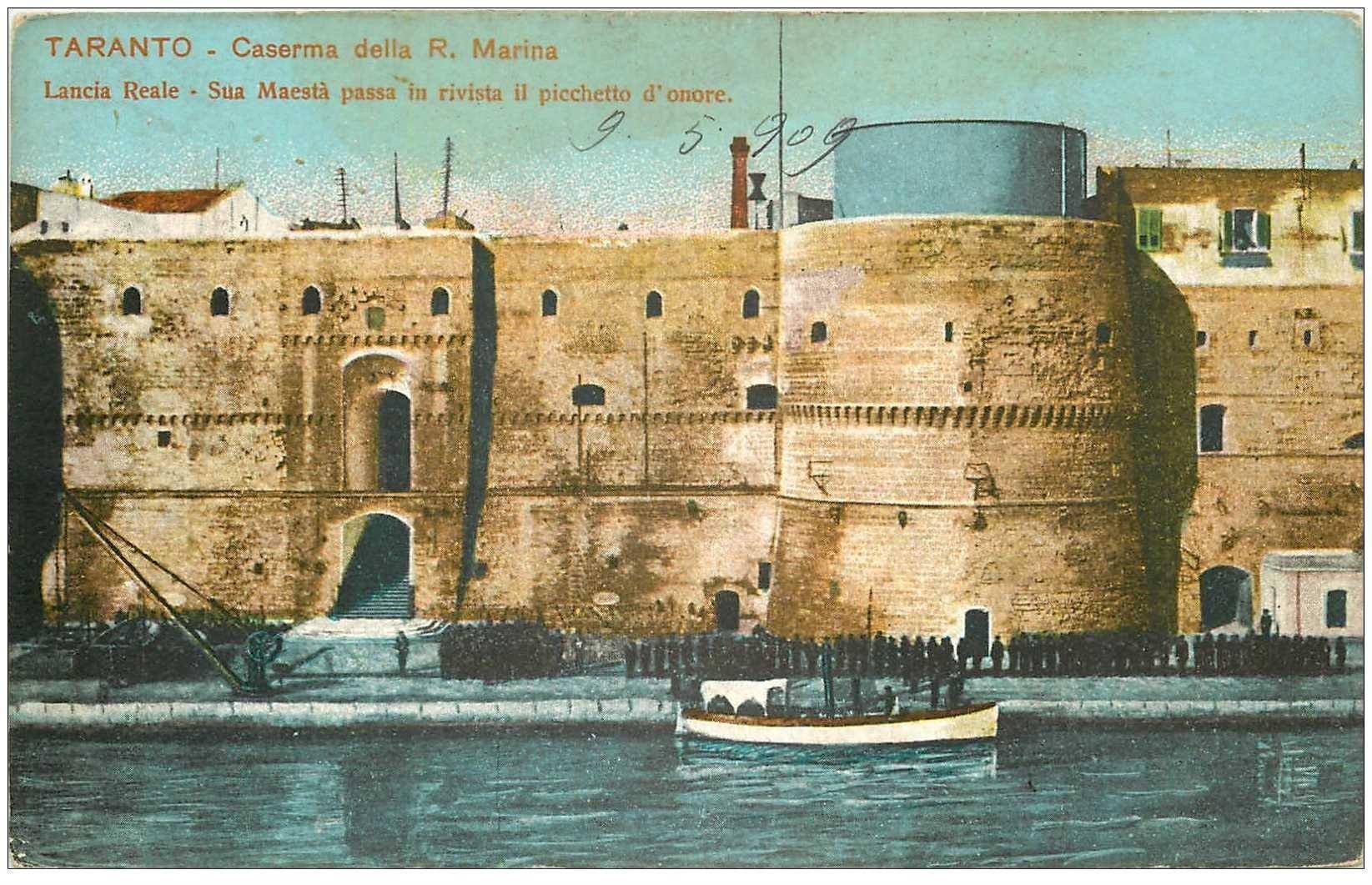 carte postale ancienne Italia Italie. TARANTO. Caserna della R. Marina 1909