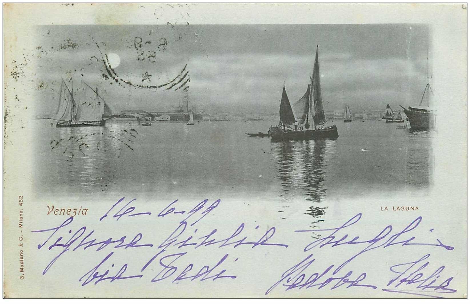 carte postale ancienne Italia Italie. VENEZIA 1899 la Laguna