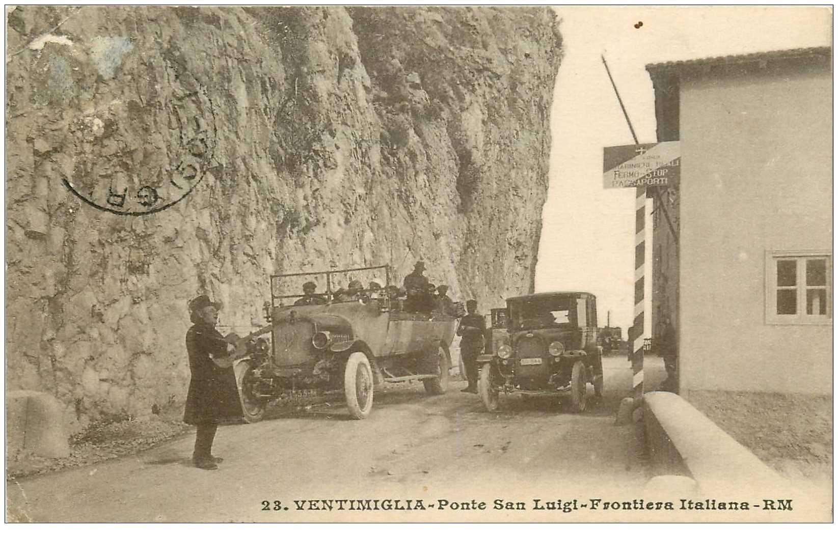 carte postale ancienne Italia Italie. VENTIMIGLIA. Ponte San Luigi Frontièra Italiana 1929. Timbre absent
