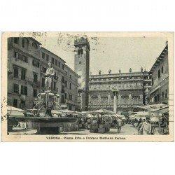 carte postale ancienne Italia Italie. VERONA. Piazza e Fontana Madona 1916
