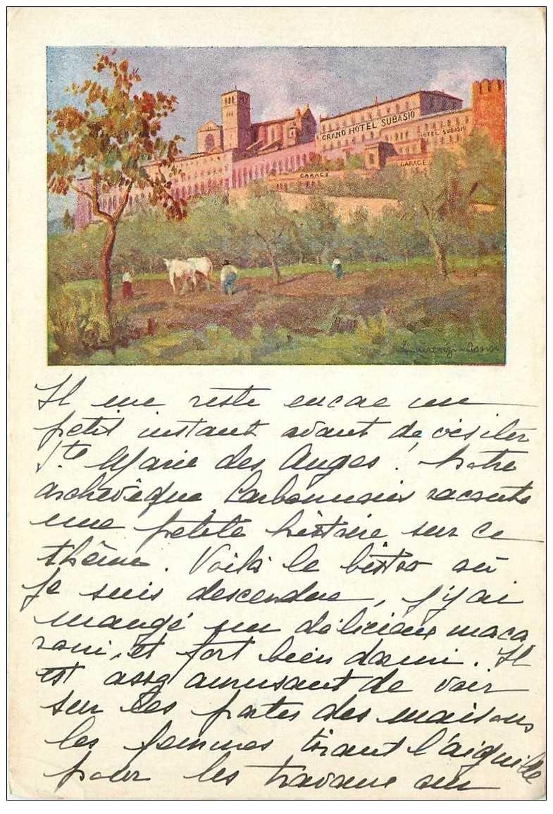 carte postale ancienne Italia. ASSISI. Hotel Subasio