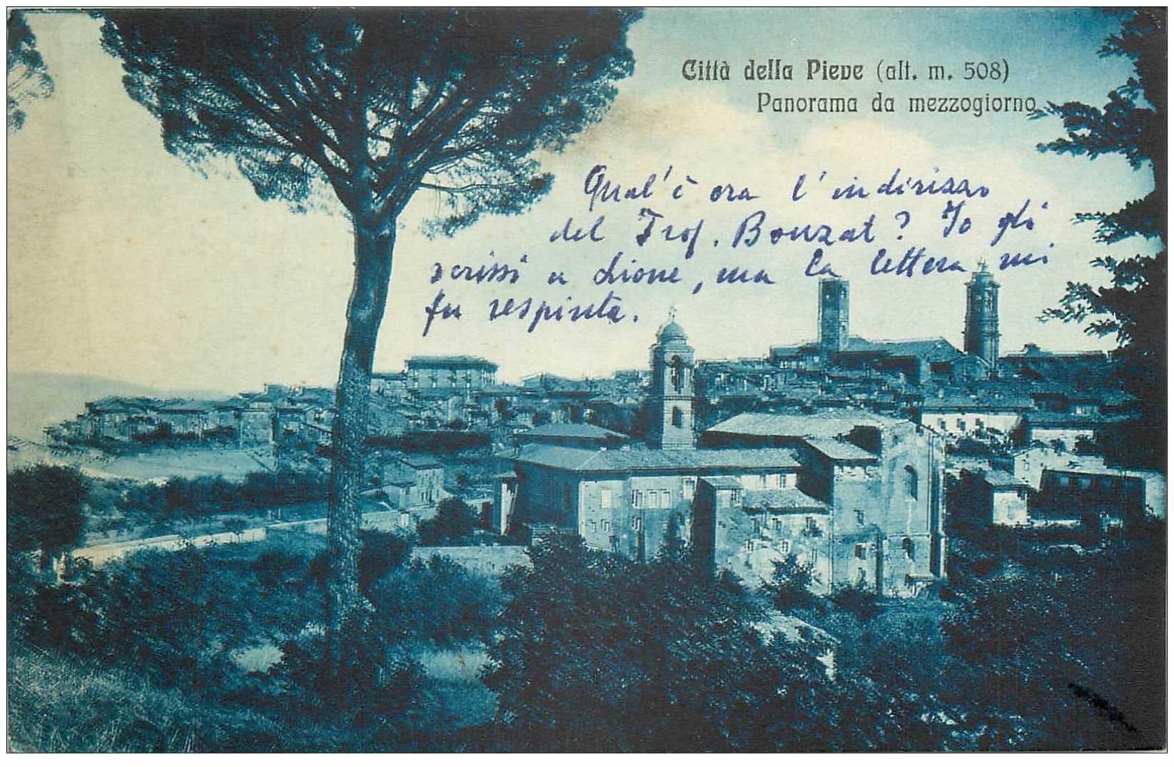 carte postale ancienne Italia. CITTA DEL PIEVE 1952