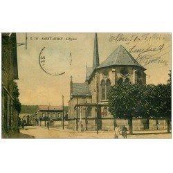 carte postale ancienne 14 SAINT-AUBIN. L'Eglise. Carte couleur timbre absent