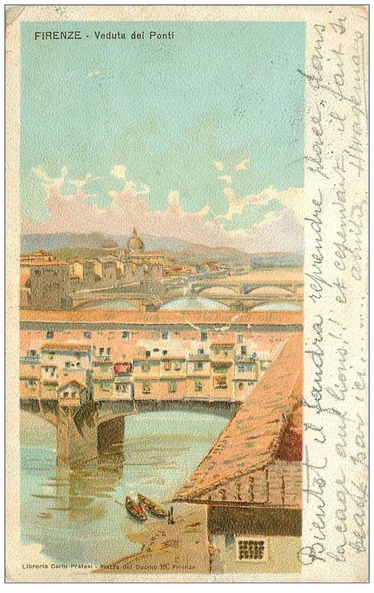 carte postale ancienne ITALIA. Firenze. I Ponti 1904. Destinataire Viales Chef d'Orchestre à Monte Carlo