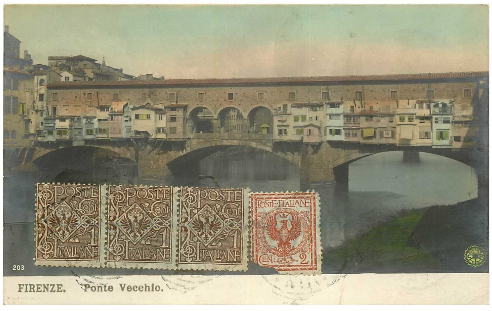 carte postale ancienne ITALIA. Firenze. Ponte Vecchio 1911
