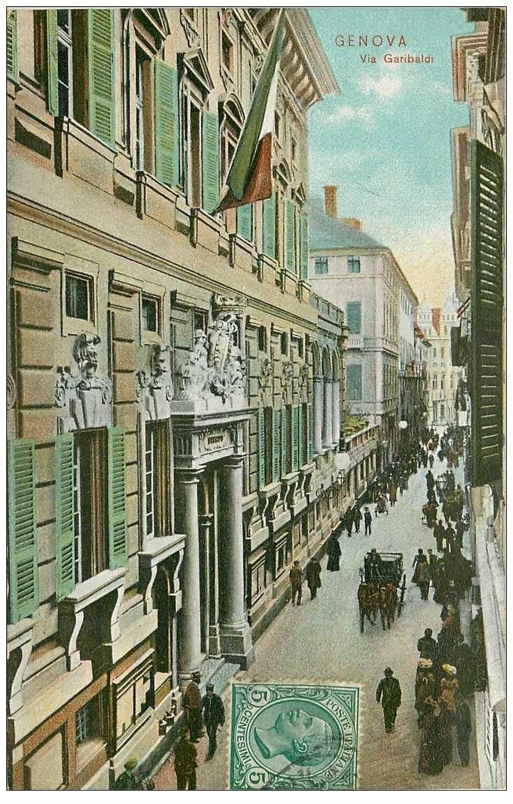 carte postale ancienne Italia. GENOVA Via Garibaldi vers 1910...