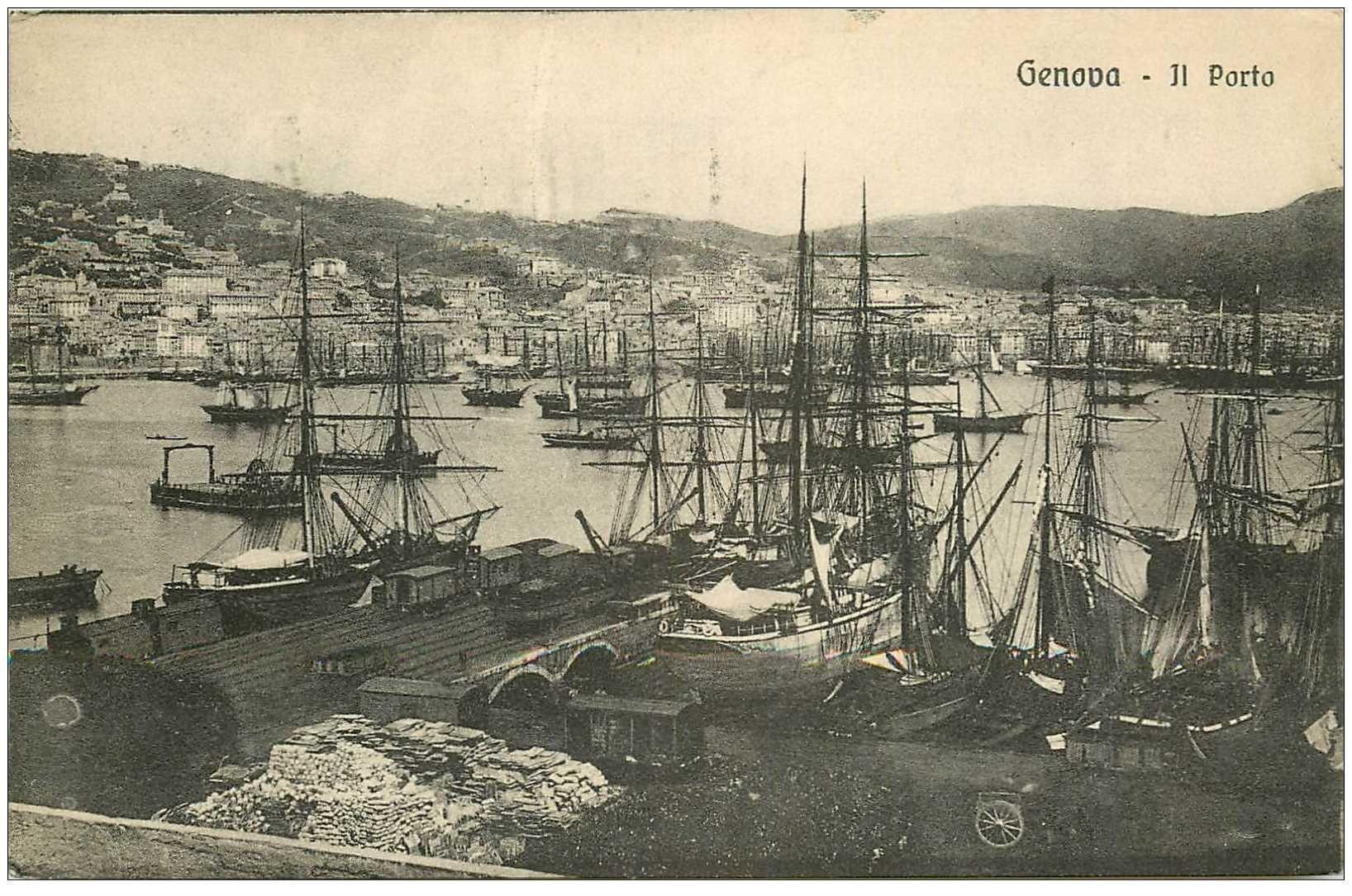 carte postale ancienne ITALIA. Genova. Il Porto 1927