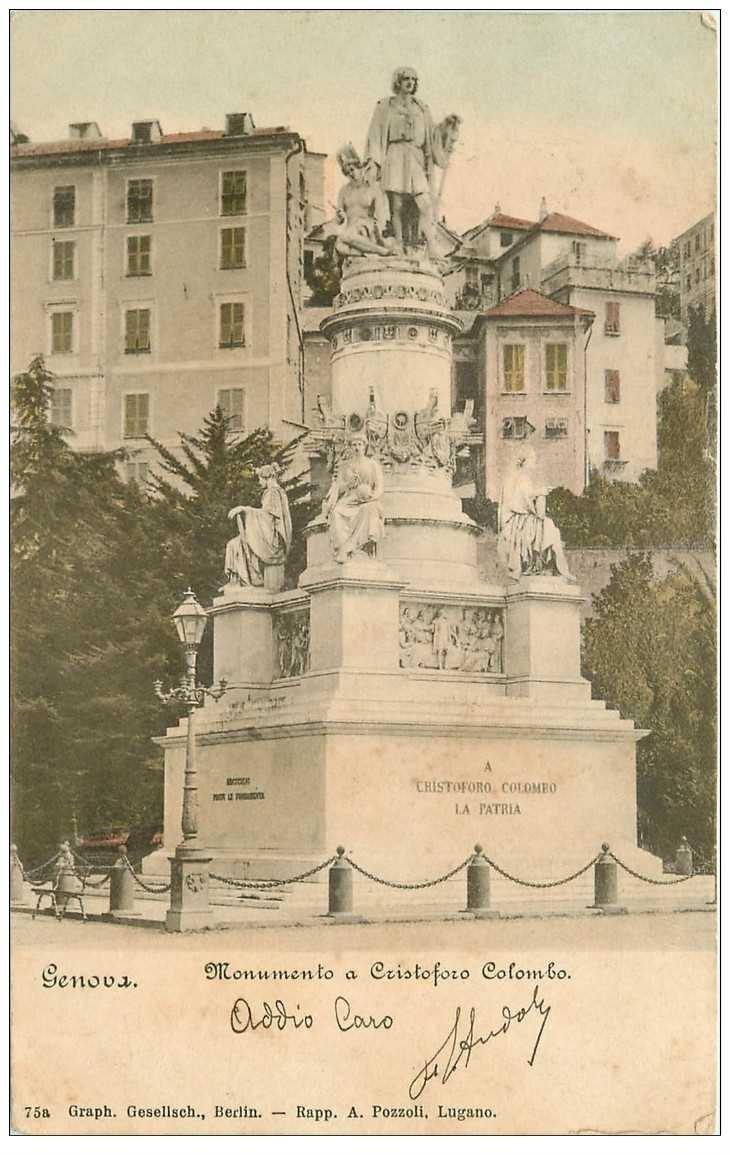 carte postale ancienne ITALIA. Genova. Monimento a Cristoforo Colombo 1899
