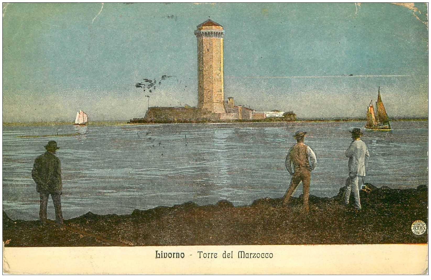 carte postale ancienne ITALIA. Livorno. Torre del Marzocco 1916 petits défauts...
