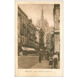 carte postale ancienne Italia. MILANO Corso Vittorio Emanuele 1919