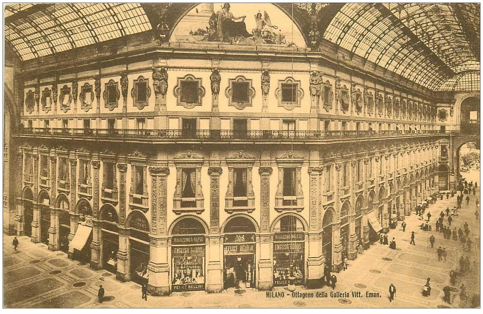 carte postale ancienne ITALIA. Milano. Ottogono della Galleria Vittorio Emanuelle