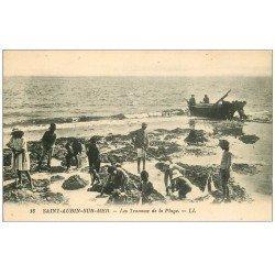 carte postale ancienne 14 SAINT-AUBIN. Les Travaux de la Plage LL18