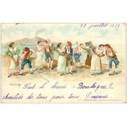 carte postale ancienne ITALIA. Napoli. La Tarantella 1901
