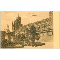 carte postale ancienne Italia. PALERMO Cattedrale animation