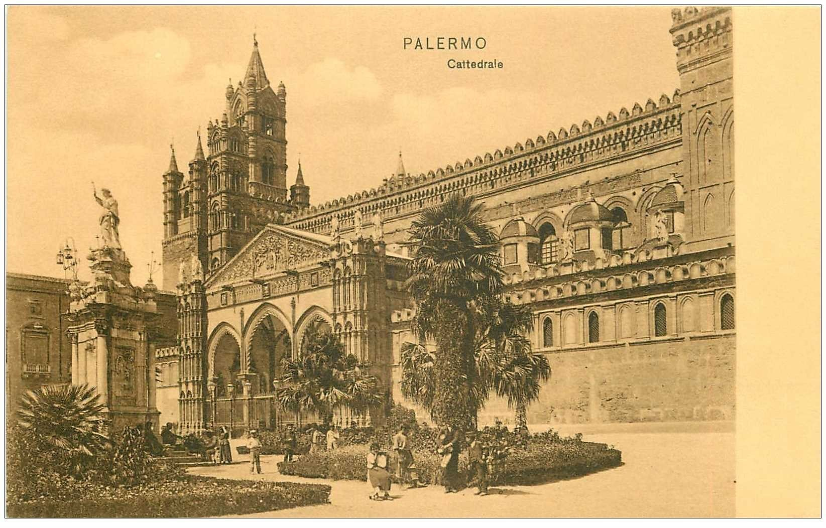 carte postale ancienne Italia. PALERMO Cattedrale animation