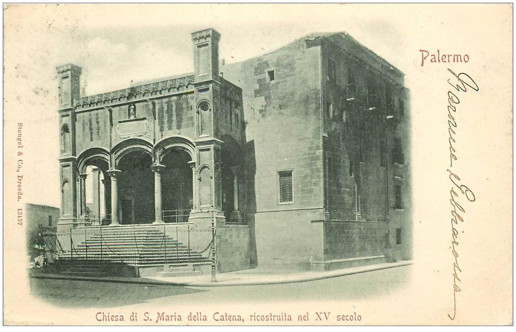 carte postale ancienne ITALIA. Palermo. Chiesa Santa Maria della Catena 1901