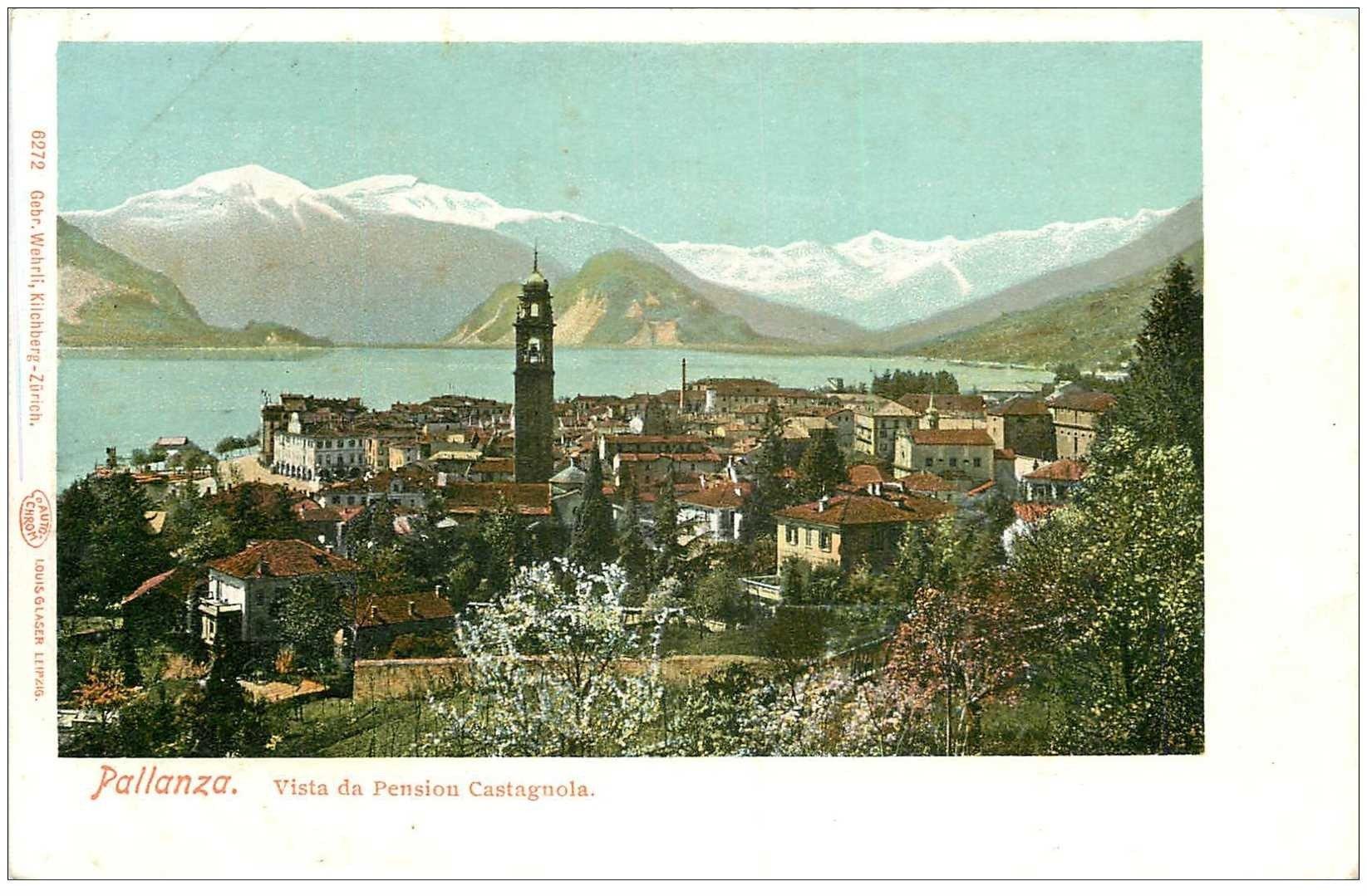carte postale ancienne ITALIA. Pallanza. Pension Castagnola