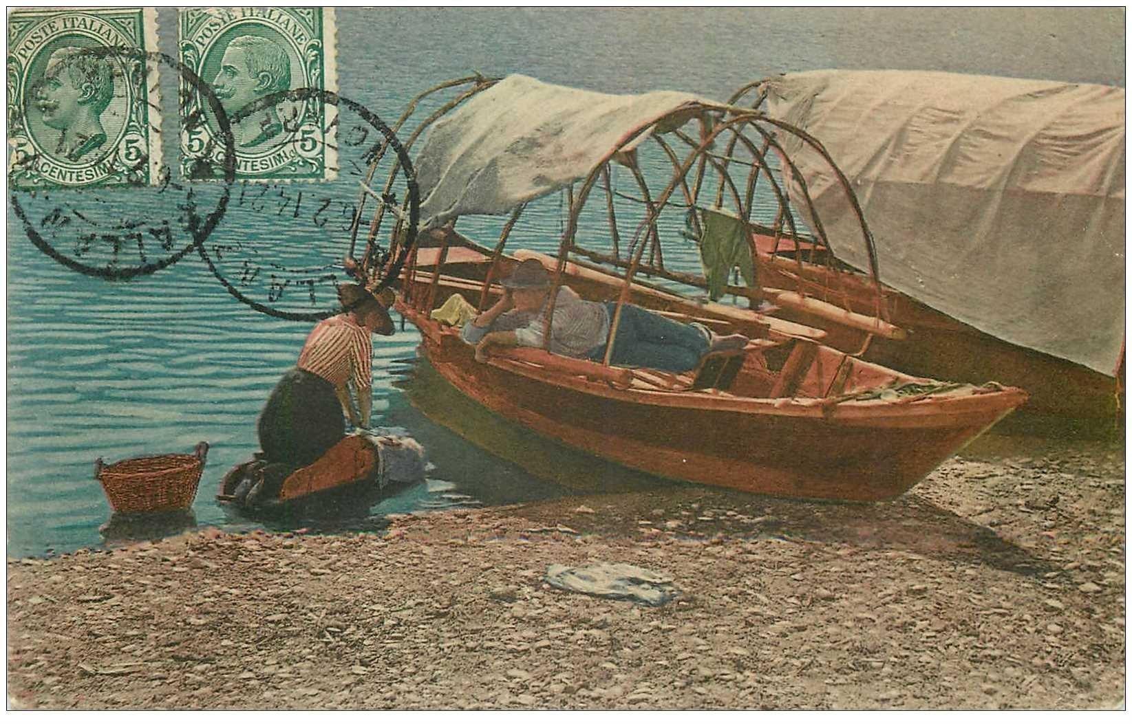 carte postale ancienne ITALIA. Pallenza Lavandière et Pêcheur au repos 1914