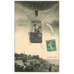 carte postale ancienne 14 SAINT-AUBIN. Montage Femme en Ballon Mongolfière