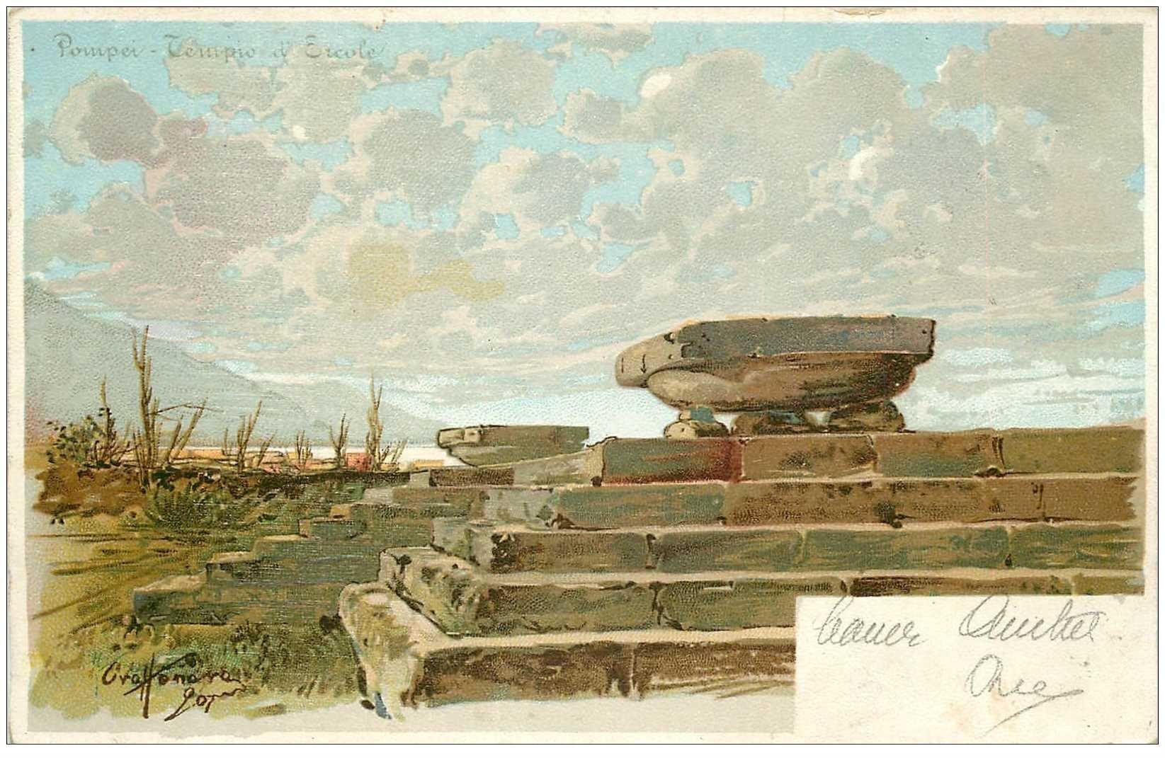 carte postale ancienne Italia. POMPEI Tempio d'Ercole vers 1905...