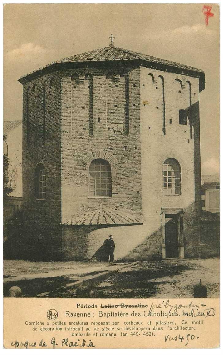 carte postale ancienne ITALIA. Ravenne. Baptistère des Catholiques