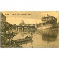 carte postale ancienne Italia. ROMA Castello S. Angelo e Pescatori sul Tevere