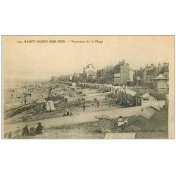 carte postale ancienne 14 SAINT-AUBIN. Panorama Plage 1915