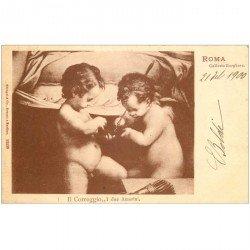 carte postale ancienne ITALIA. Roma. Il Corregio i due Amorini 1900