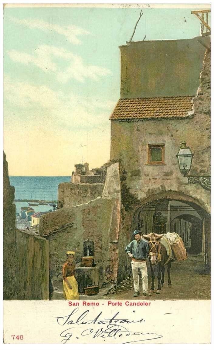 carte postale ancienne Italia. SAN REMO Porte Candeler con asino vers 1905