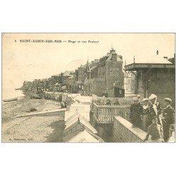 carte postale ancienne 14 SAINT-AUBIN. Plage et Rue Pasteur 1910