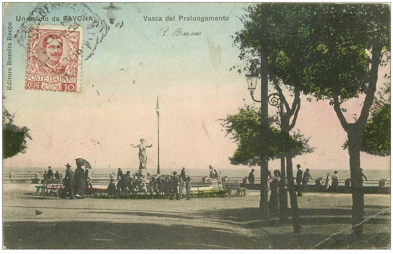 carte postale ancienne Italia. SAVONA. Vasca del Prolungamento 1907