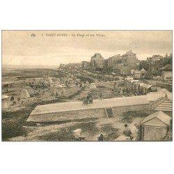 carte postale ancienne 14 SAINT-AUBIN. Plage et Villas 1