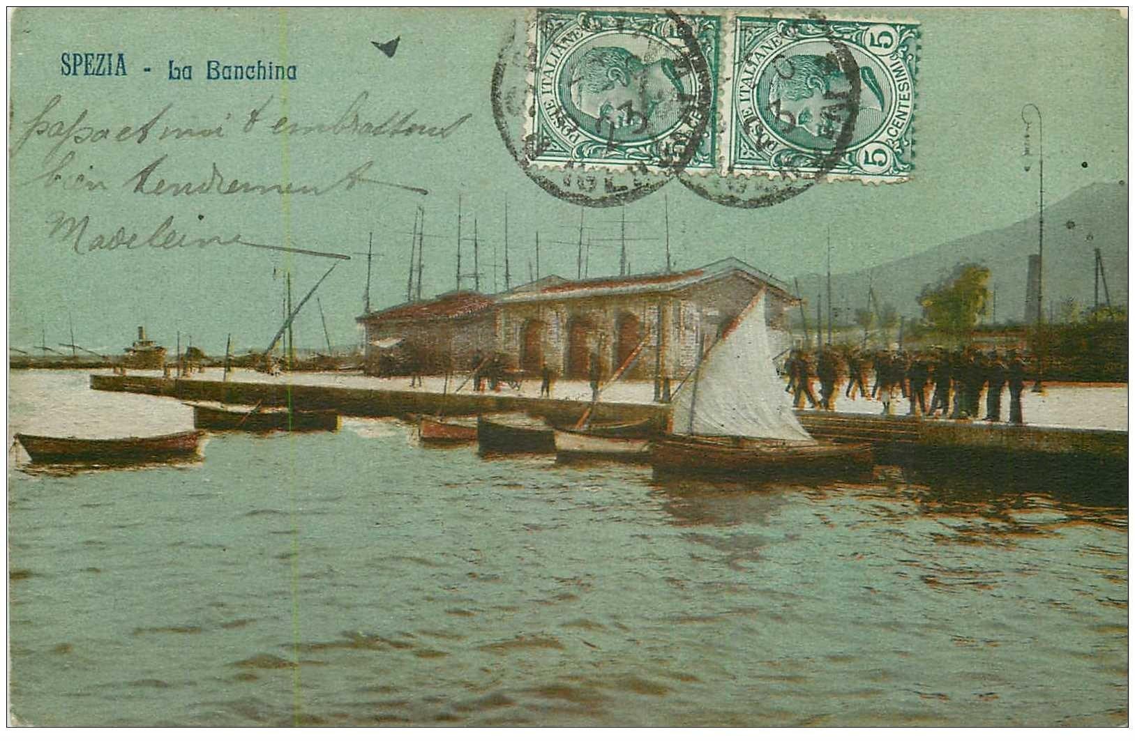 carte postale ancienne ITALIA. Spezia. La Banchina 1923