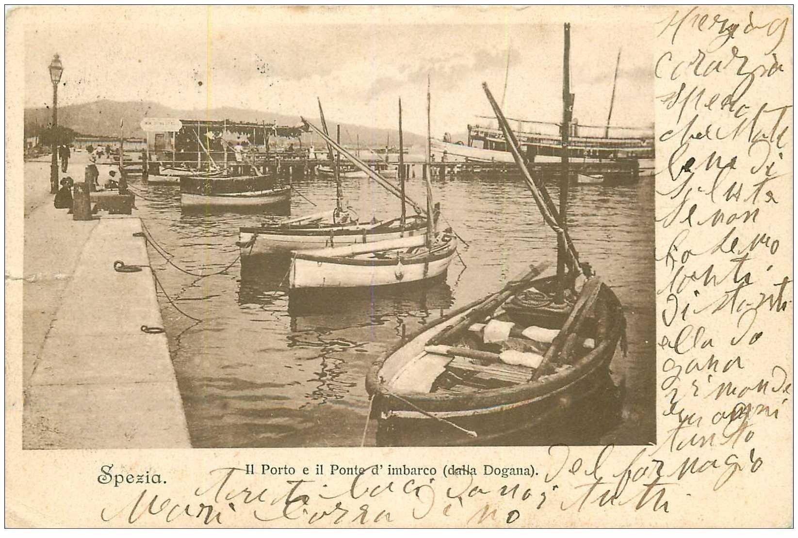 carte postale ancienne ITALIA. Spezia. Porto e Ponte d'imbarco della Dogana 1904