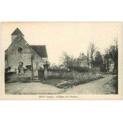 carte postale ancienne 02 OIGNY. Eglise, Cimetière et Château