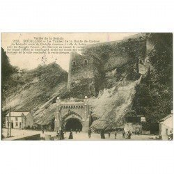 carte postale ancienne Luxembourg. BOUILLON. Tunnel Route de Corbion 1907